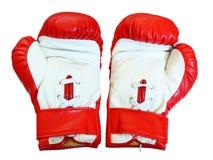 Gants de boxe en cuir pour le combat Photographie stock