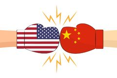 Gants de boxe entre les Etats-Unis et les drapeaux de la Chine sur le fond blanc illustration de vecteur