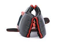 Gants de boxe noirs et rouges Photographie stock