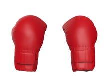 Gants de boxe rouges d'isolement sur le blanc Image stock