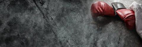 Gants de boxe sur la terre avec la transition Photographie stock