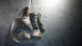 Gants de boxe sur le mur Animation avec le canal alpha banque de vidéos