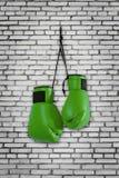 Gants de boxe verts accrochant sur le mur Photographie stock libre de droits