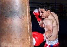 Gants de boxeur en fonction dans l'assiette de formation photo stock