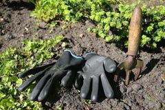Gants de jardinage noirs, outils de jardinage Photos stock