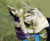 Gants de jardinage sur des cisaillements de jardin Photos stock