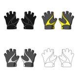 Gants de main de vélo pour des cyclistes Équipement de protection pour des athlètes Icône simple d'équipement de cycliste dans le Images libres de droits