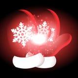 Gants de Noël avec le fond de Noël et le vecteur de carte de voeux Photos stock