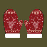 Gants de Noël d'isolement Images libres de droits