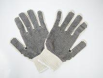 Gants de travail pointillés par caoutchouc Images libres de droits