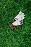 Gants du gardien de but sur une pelouse verte Photographie stock