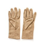 Gants du textile des femmes d'isolement, mode de dames Photo stock