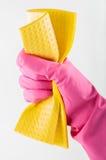 Gants en caoutchouc avec l'éponge photographie stock libre de droits