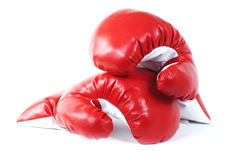 Gants en cuir de boxe rouge. Photographie stock libre de droits