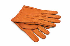 Gants en cuir de Brown d'isolement sur le blanc Photos stock