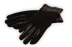 Gants en cuir de dames noires Image stock