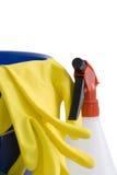 Gants et bouteille en caoutchouc de jet Photo libre de droits