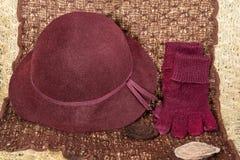 Gants et chapeau rouges Photo stock