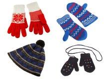 Gants et chapeau tricotés photo stock