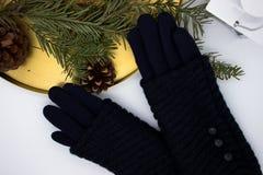Gants et décoration bleus de Noël photos libres de droits