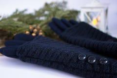 Gants et décoration bleus de Noël photo stock
