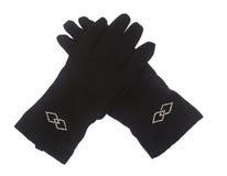 Gants femelles de noir de l'hiver d'isolement sur le blanc Photographie stock libre de droits
