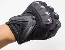Gants noirs de moto d'isolement Photo stock