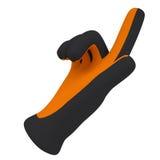Gants noirs et oranges. Expositions d'index illustration libre de droits