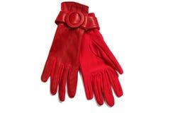Gants rouges d'isolement sur le blanc Photographie stock libre de droits