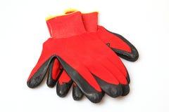 Gants rouges de travail Photographie stock libre de droits