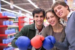 gants trois d'amis de boxe Images libres de droits