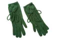 Gants verts de knit Photographie stock libre de droits