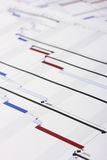 Gantt Chart Document. Shallow Depth of Field Royalty Free Stock Photo