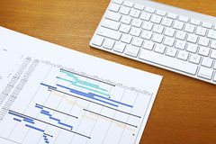 Gantt chart and keyboard Royalty Free Stock Photography