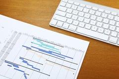 Gantt chart and keyboard Royalty Free Stock Photography