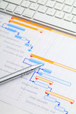 Gantt chart with keyboard and pen Royalty Free Stock Image