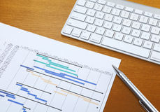 Gantt chart and keyboard Stock Photography