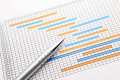 Gantt chart and pen royalty free stock photo