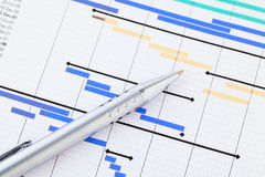 Gantt chart. With pen close up Royalty Free Stock Images