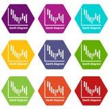 Gantt diagram icons set 9 vector. Gantt diagram icons 9 set coloful isolated on white for web Royalty Free Stock Image