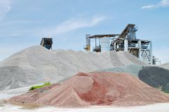 Ganules Industries. Factory Big Pile of granulates marbles and stones in Italy Stock Photo