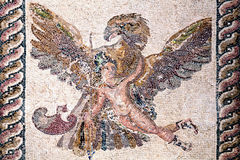 Ganymede and the Eagle, Roman mosaic. Roman mosaic of Ganymede and the Eagle from the ancient ruin of the House of Dionysos, Paphos, Cyprus Royalty Free Stock Photography