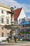 Ganymede`s Fountain in Bratislava, Slovakia. It was inspired by the mythological Ganymede combined with the depictions of species common in the local part of royalty free stock images