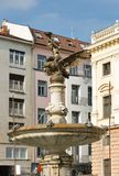 Ganymede`s Fountain in Bratislava, Slovakia. It was inspired by the mythological Ganymede combined with the depictions of species common in the local part of royalty free stock image
