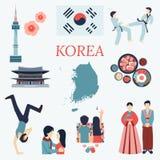 Ganz über Korea Flache Gestaltungselemente KPOP, koreanische Reihe, Flagge, Nationsblume, Taekwondo, Karte, Touristenattraktionen Stockfoto
