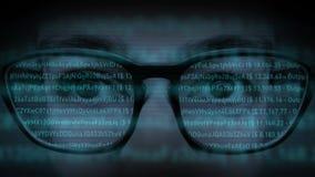 Ganz eigenhändig geschriebe Gläser mit aktiven Datenbank-Verbindungen stock video footage