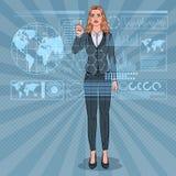Ganz eigenhändig geschriebe Schnittstelle Knall-Art Business Woman Using Virtuals Futuristisches Technologie-mit Berührungseingab stock abbildung