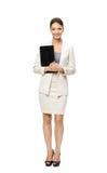 Ganzaufnahme der Geschäftsfrau mit Dokumenten Stockbilder