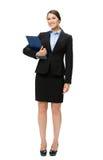 Ganzaufnahme der Geschäftsfrau mit Dokumenten Lizenzfreies Stockfoto