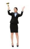 Ganzaufnahme der Geschäftsfrau mit goldener Schale Lizenzfreie Stockfotos